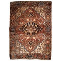 Handmade Antique Sarouk Farahan Style Rug, 1880s, 1B822