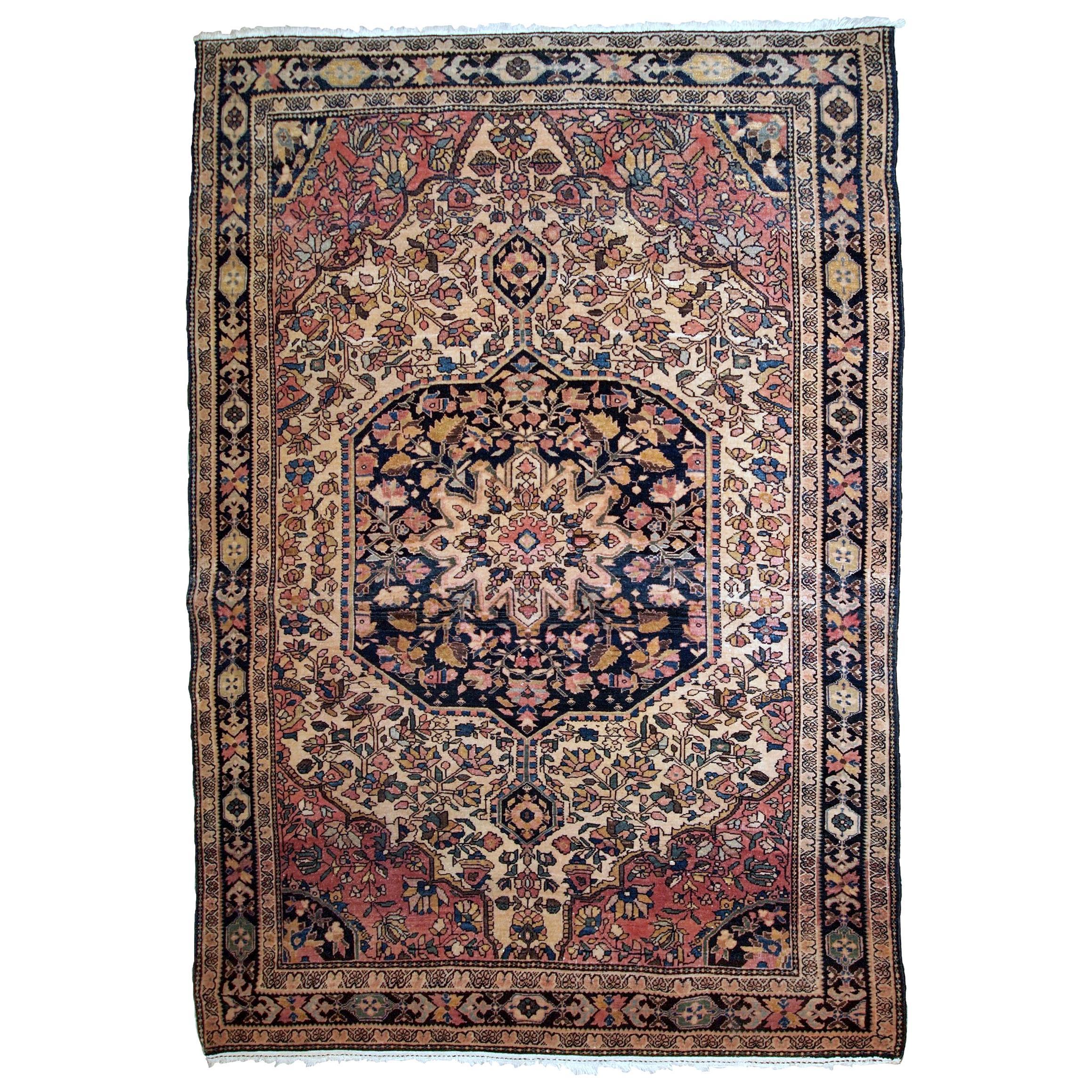 Handmade Antique Sarouk Farahan Style Rug, 1900s, 1B793