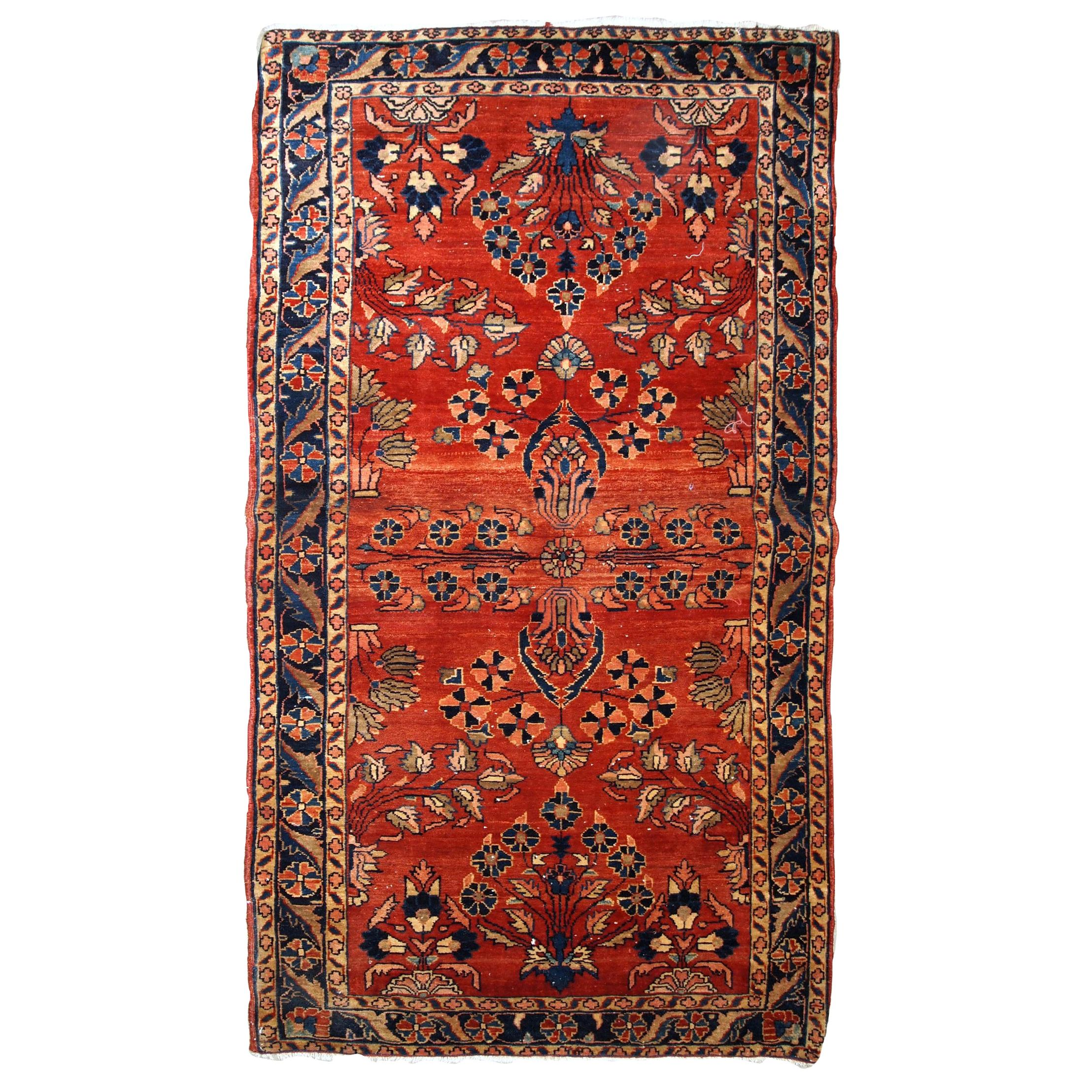 Handmade Antique Sarouk Mahajeran Style Rug, 1900s, 1B838