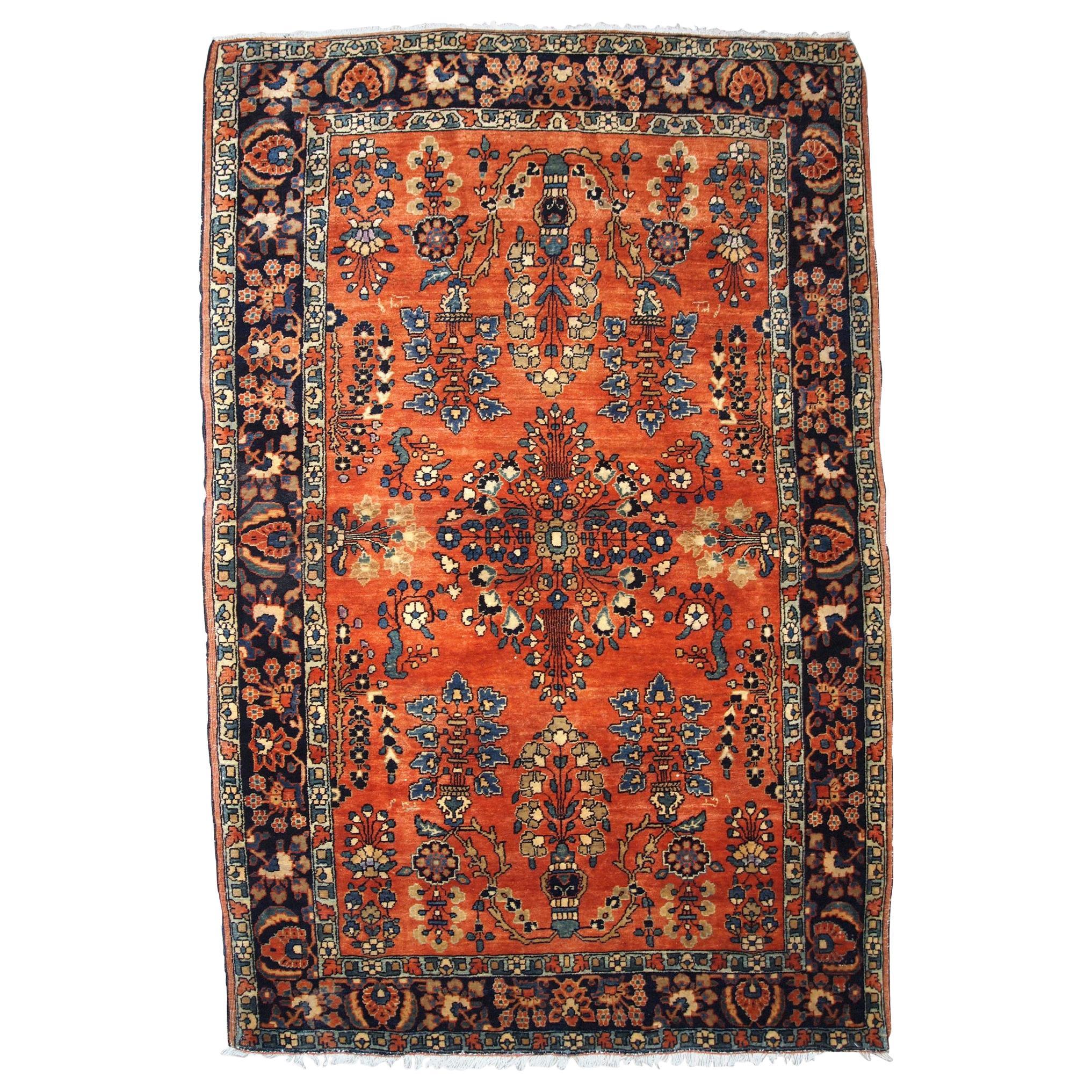 Handmade Antique Sarouk Style Rug, 1900s, 1B824