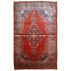 Handmade Antique Sarouk Style Rug, 1910s, 1B832