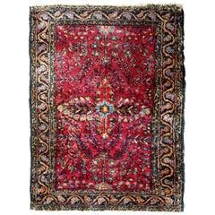 Handmade Antique Sarouk Style Rug, 1920s, 1B652