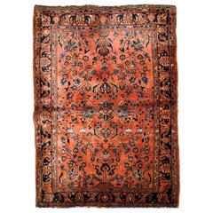 Handmade Antique Sarouk Style Rug, 1920s, 1B670
