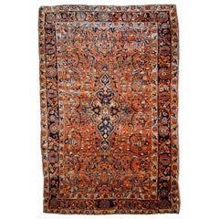 Handmade Antique Sarouk Style Rug, 1920s, 1B783