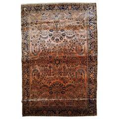 Handmade Antique Sarouk Style Rug, 1920s, 1B786