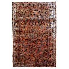 Handmade Antique Sarouk Style Rug, 1920s, 1B787