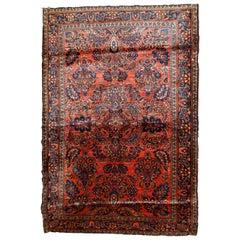 Handmade Antique Sarouk Style Rug, 1920s, 1B790