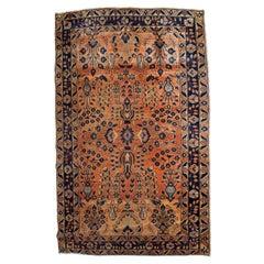 Handmade Antique Sarouk Style Rug, 1920s, 1B792