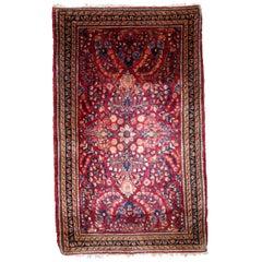 Handmade Antique Sarouk Style Rug, 1920s, 1B815