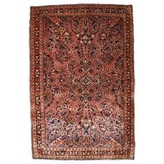 Handmade Antique Sarouk Style Rug, 1920s, 1B823