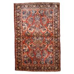 Handmade Antique Sarouk Style Rug, 1920s, 1B826