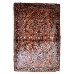 Handmade Antique Sarouk Style Rug, 1920s, 1B827