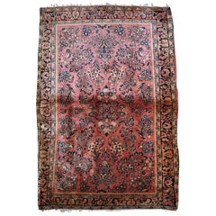 Handmade Antique Sarouk Style Rug, 1920s, 1B831