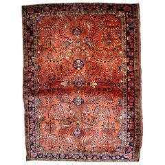 Handmade Antique Sarouk Style Rug, 1920s, 1B833