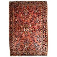 Handmade Antique Sarouk Style Rug, 1920s, 1B834