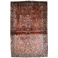 Handmade Antique Sarouk Style Rug, 1920s, 1B837