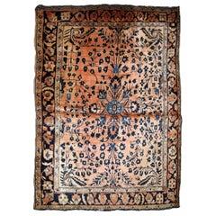 Handmade Antique Sarouk Style Rug, 1920s, 1B839