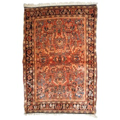 Handmade Antique Sarouk Style Rug, 1920s, 1B840