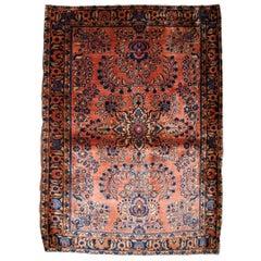 Handmade Antique Sarouk Style Rug, 1920s, 1B842