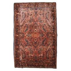 Handmade Antique Sarouk Style Rug, 1920s, 1B843
