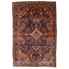 Handmade Antique Sarouk Style Rug, 1920s, 1B844