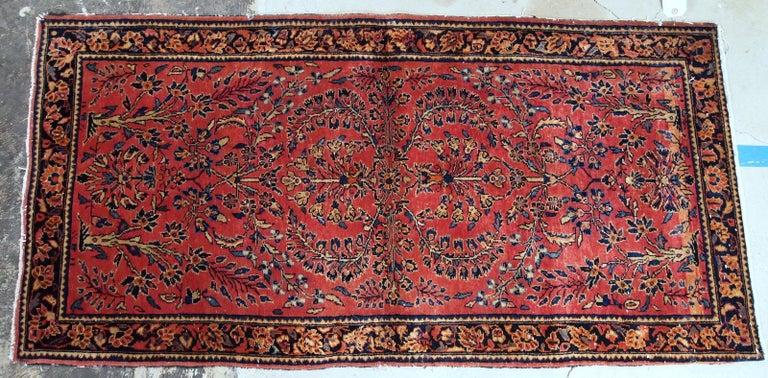 Handmade Antique Sarouk Style Runner, 1900s, 1B708 For Sale 4