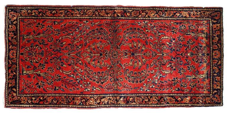 Handmade Antique Sarouk Style Runner, 1900s, 1B708 For Sale 5