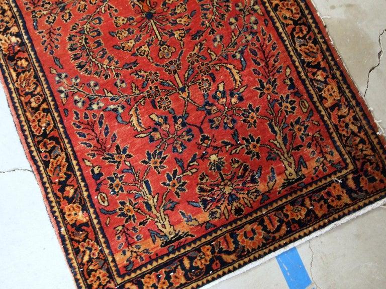Handmade Antique Sarouk Style Runner, 1900s, 1B708 For Sale 1