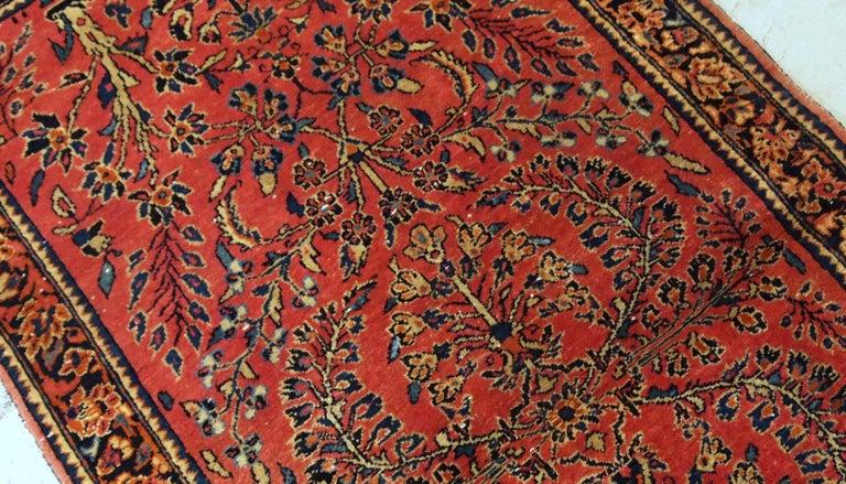 Handmade Antique Sarouk Style Runner, 1900s, 1B708 For Sale 3
