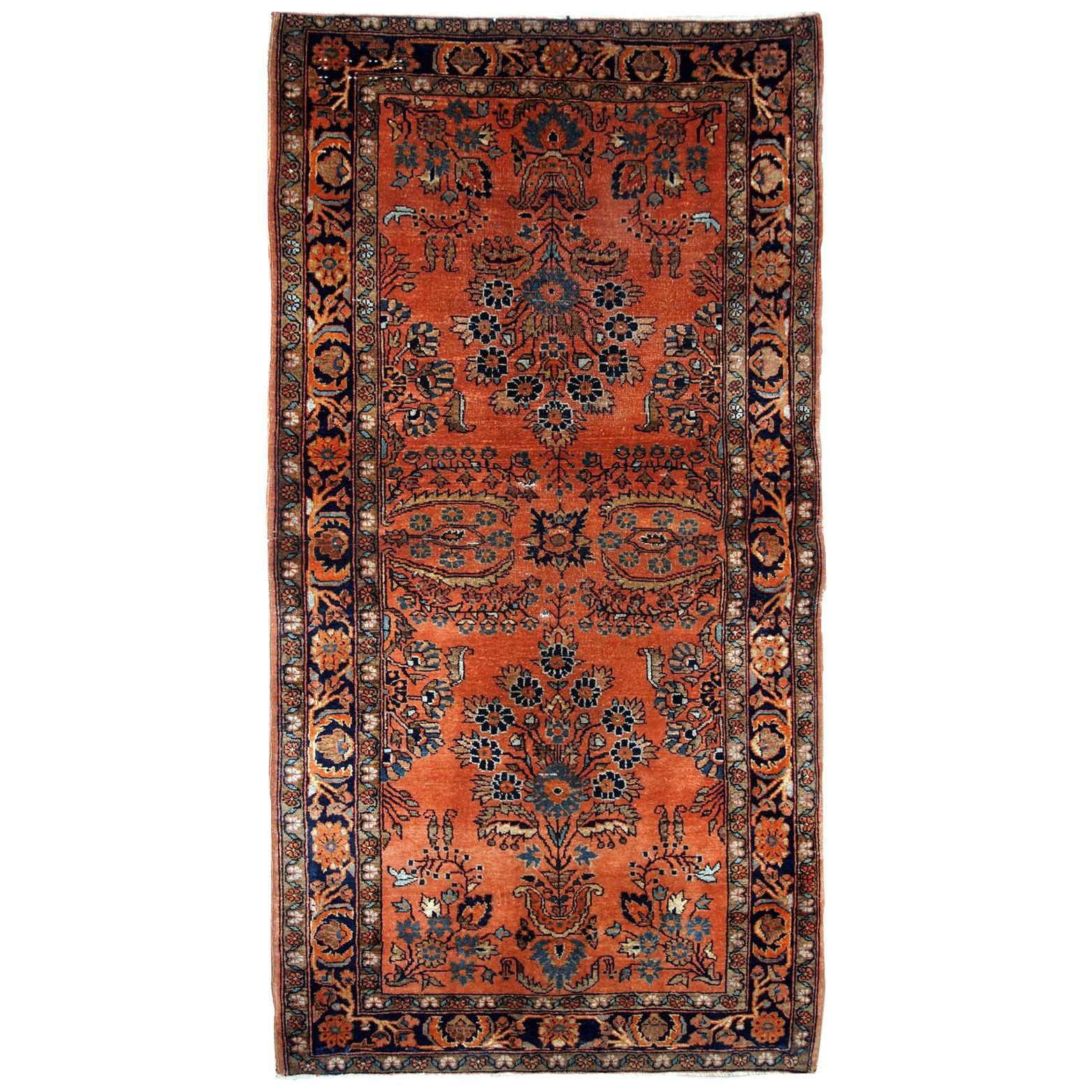 Handmade Antique Sarouk Style Runner, 1920s, 1B691