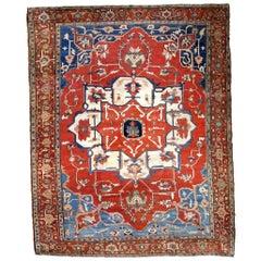 Handmade Antique Serapi Style Rug, 1880s, 1B798