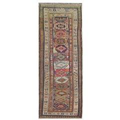 Handmade Antique Shirvan Runner Rug, Vibrant Wool Runner for Hallway