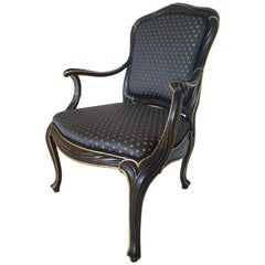 Handmade Antique Style Armchair with Dark Upholstery and Gold Leaf
