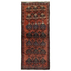 Handmade Antique Tribal Living Room Rug, Traditional Red Wool Carpet Rug