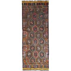 Handmade Antique Tunisian Flat-Weave Kilim, 1930s