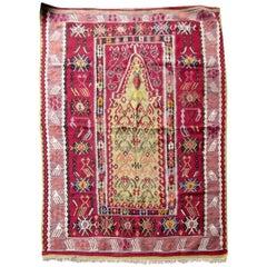 Handmade Antique Turkish Melas Kilim, 1910s, 1Q0293