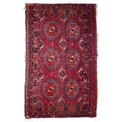 Handmade Antique Turkmen Saryk Rug, 1880s, 1B812