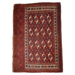 Handmade Antique Turkmen Tekke Rug, 1860s, 1B353