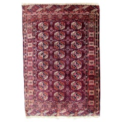 Handmade Antique Turkmen Tekke Rug, 1900s, 1Q0202