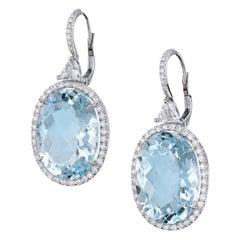 Handmade Aquamarine and Diamond Drop Earrings