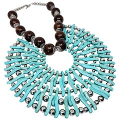 Zuri Perle Handmade Apeere Wood and Howlite Necklace Necklace