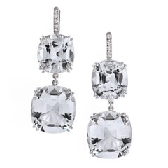 42.83 carats of Arkansas Quartz with Pave Diamonds 18 karat White Gold Earrings