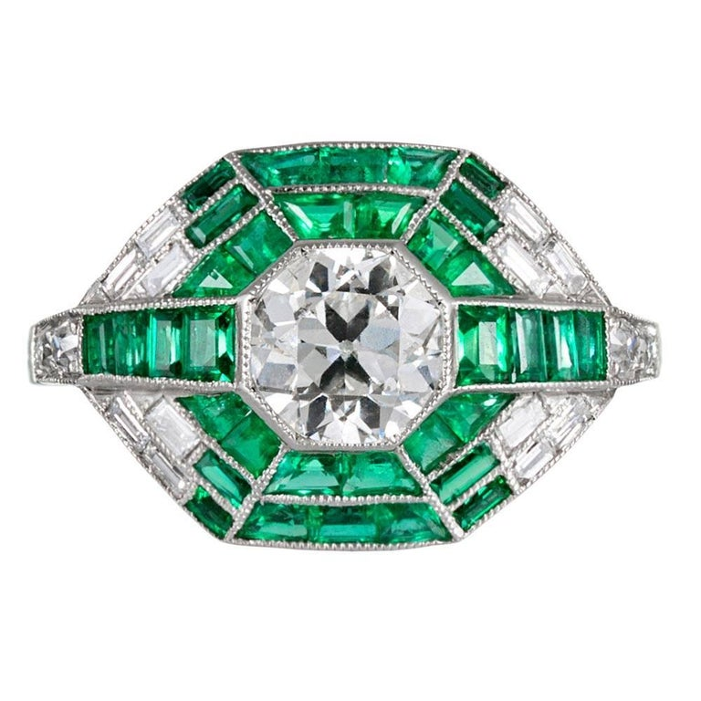 Handmade Modern Art Deco Style Ring with Old European Cut Diamonds and Emeralds