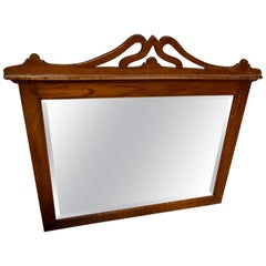 Handmade Art Nouveau Teak Fixture Mirror with Bevel Glass