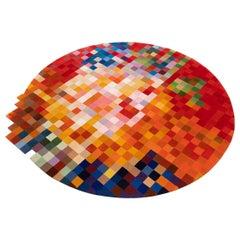 Handmade Art Round Rug from New Zealand Wool, Golden Island