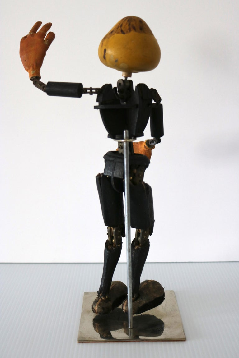 Handmade Articulated Wood Automoton Figural Doll Sculpture-Collectible Curiosity For Sale 3