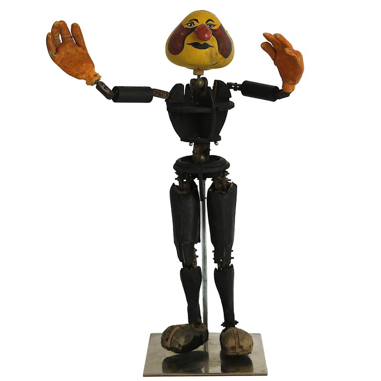 Spectacular Handmade collectible curiosity articulated wooden stationary automaton doll. Intricate metal jointed moveable parts, move with your hand. Crafted of vintage wooden pieces with very well crafted articulating moveable metal hardware.