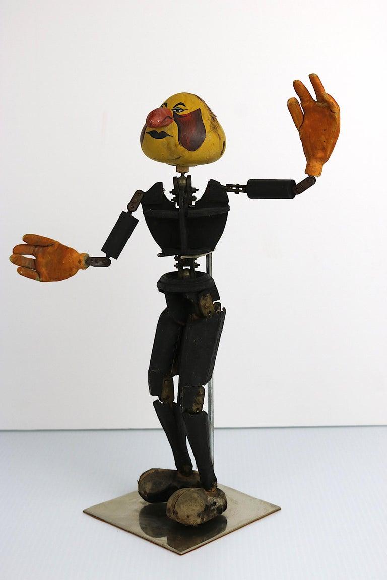 Folk Art Handmade Articulated Wood Automoton Figural Doll Sculpture-Collectible Curiosity For Sale