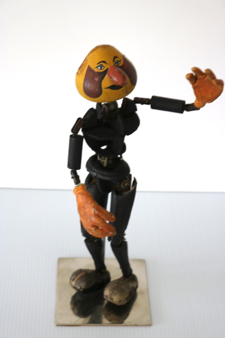 20th Century Handmade Articulated Wood Automoton Figural Doll Sculpture-Collectible Curiosity For Sale