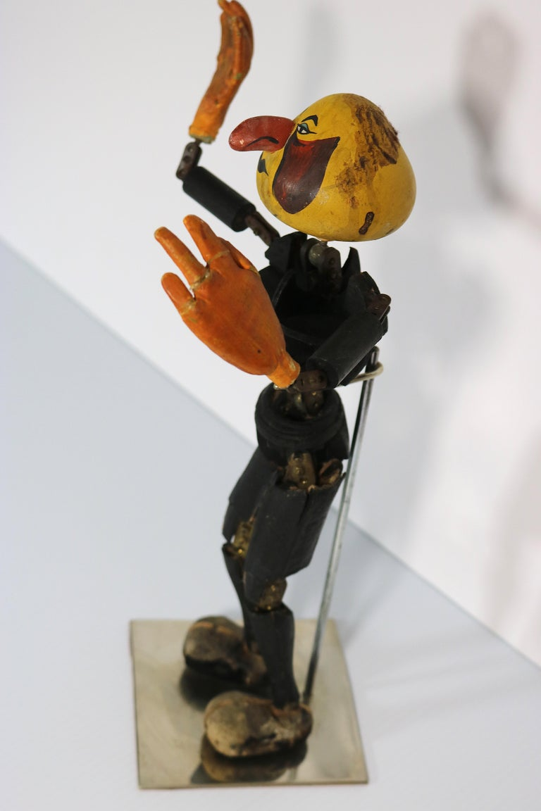 Leather Handmade Articulated Wood Automoton Figural Doll Sculpture-Collectible Curiosity For Sale